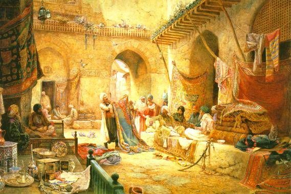 Charles Robertson, Carpet Bazaar, Cairo dated 1887