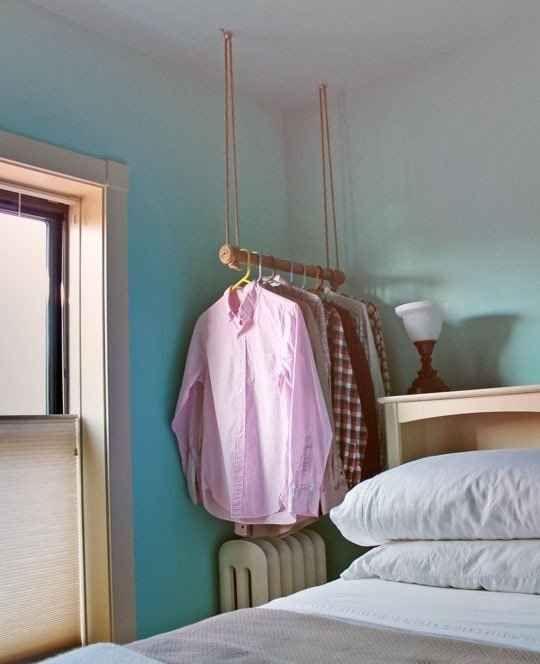 A Ceiling-Hung Garment Rack