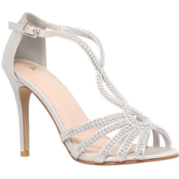 Miss KG Pepper 2 Embellished Satin High Heel Sandals, Silver (100 AUD) ❤ liked on Polyvore featuring shoes, sandals, low heel sandals, silver shoes, open toe flat sandals, sparkly sandals and flat sandals