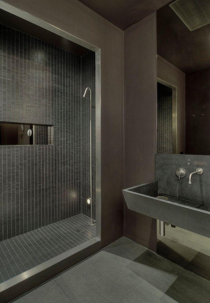 ♂ Masculine and contemporary dark interior design bathroom Soho Loft by David Howell Design #masculine #interior #bathroom