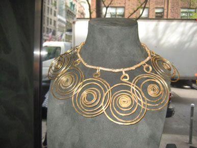 Alexander Calder hammered brass necklace