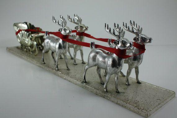 Vintage Santa S Sleigh Silver Deer Reindeer Figurines Gold