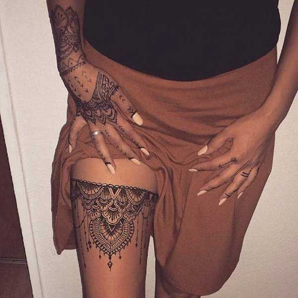 henna garter tattoo