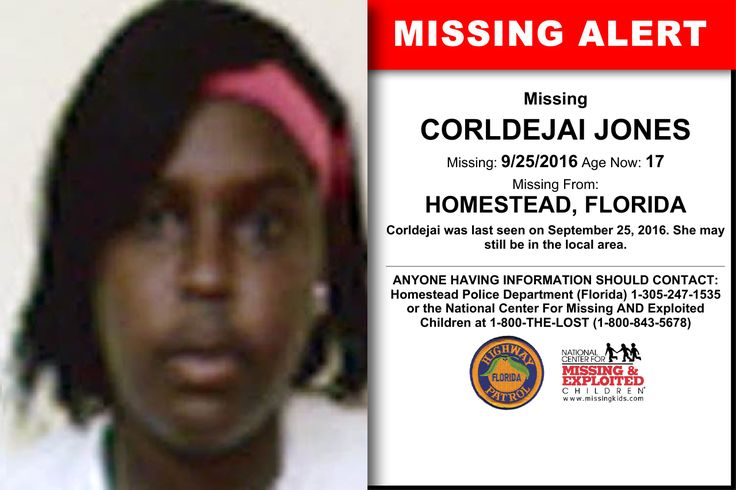 CORLDEJAI JONES, Age Now: 17, Missing: 09/25/2016. Missing From HOMESTEAD, FL. ANYONE HAVING INFORMATION SHOULD CONTACT: Homestead Police Department (Florida) 1-305-247-1535.