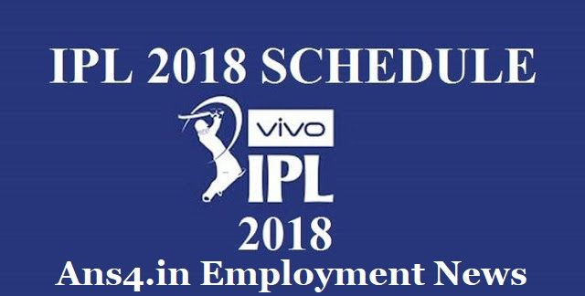 VIVO IPL Match Schedule 2018 has been revealed through online mode. Download IPL Time Table 2018 PDF at official website i.e. www.iplt20.com