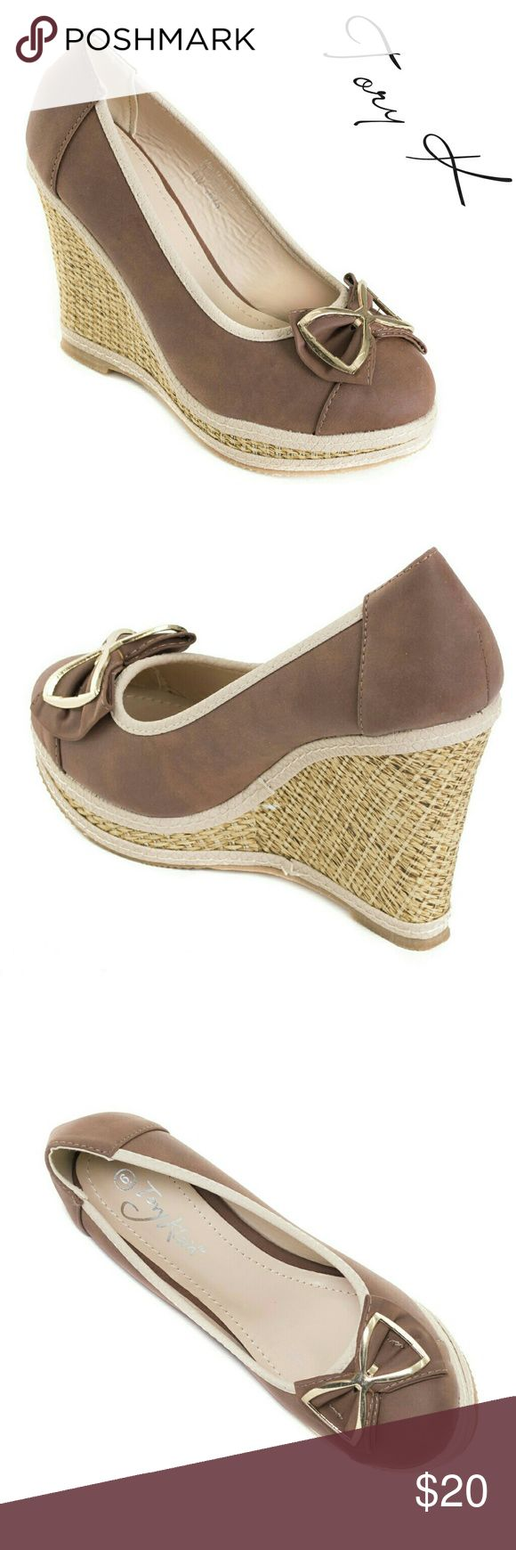 """Women Wedge Espadrilles with Bow, HW-1676, Brown Brand new Tory K platform espadrilles in PU leather with a beautiful metal bow in the front. Approx 4"""" woven platform, cushioned sole, very comfortable. Perfect for a summer vacation! A true statement in ladies shoes fashion! If you are between sizes, order up - they run a tad tight. Size 9 measures 9.5 inches on the inside of the sole, all sizes are half an inch apart in length. Tory K  Shoes Wedges"""