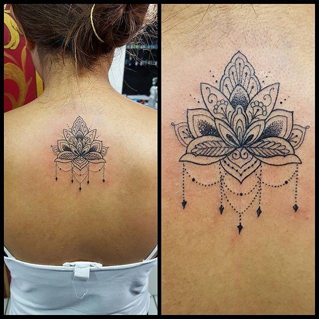 Flor de lotus com inspiração indiana by @renetattoo #sevenstarstattoo #brasiltattoo #tattoo ...