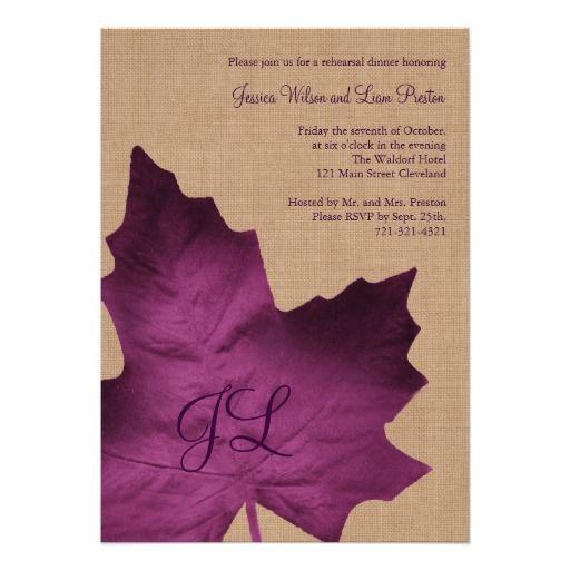 fall rehearsal dinner invitation in purple burlap