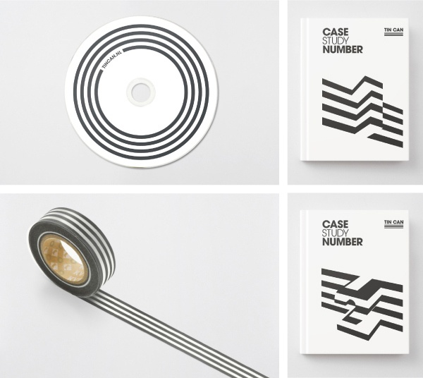 Tin Can identity, print and box tape designed by COOEE.