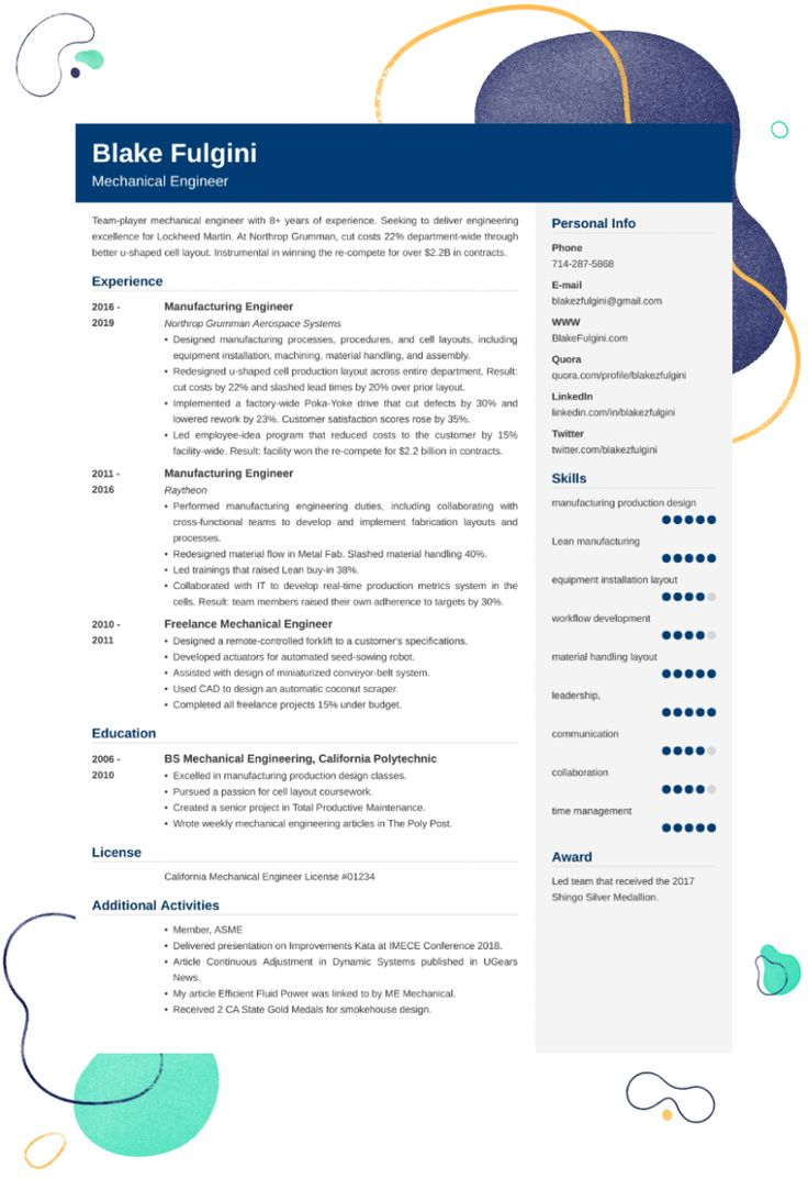 14 Mechanical Engineer Resume di 2020
