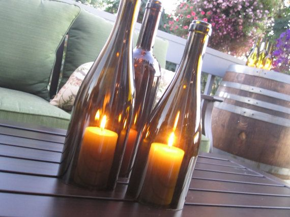 Tutorial for cutting wine bottles for use as a candle cover in outdoor centerpiece (to keep candles from blowing out)