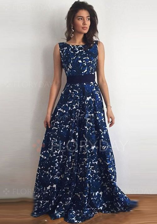 Vestidos de - $40.99 - Chiffon Renda Floral Sem magas Longo Vintage Vestidos de (1955108885)