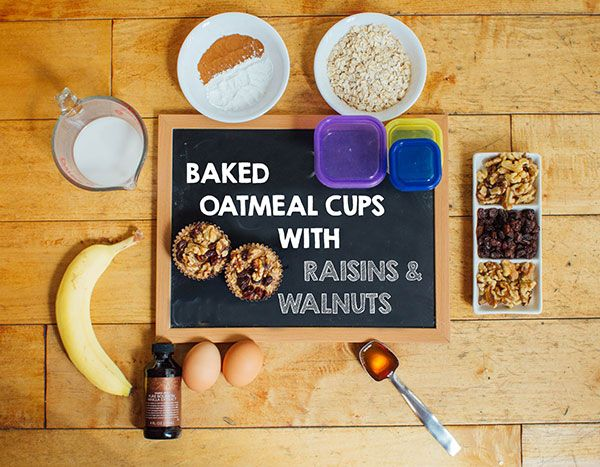 Baked Oatmeal Cups With Raisins and Walnuts (1/2 Yellow, 1/2 Purple, 1/2 Blue)