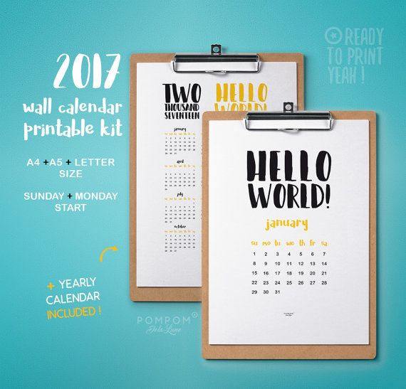 2017 Calendrier imprimable, affiche poster calendrier mural, planner 2017, agenda organisation 2017 calendrier téléchargeable A4 A5