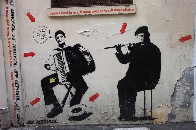 Pochoir stencil + hand-graffiti, by Jef Aerosole in Paris 2007