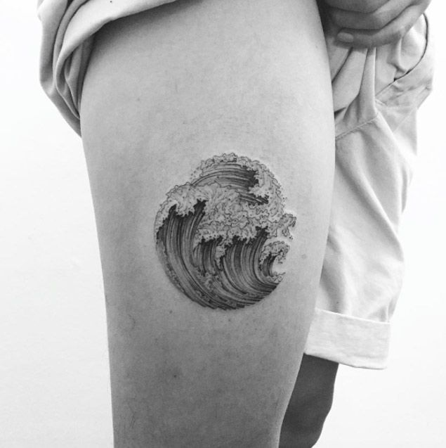 Wave Tattoo on Thigh by Ilwol