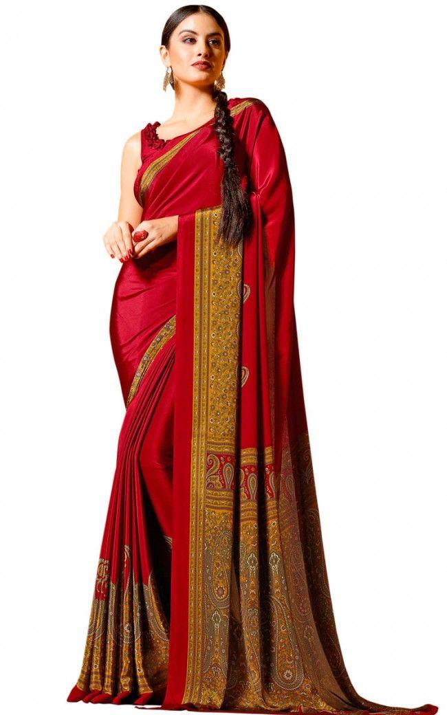 9f0eab3639 Red Crepe Designer saree in 2019   saree   Saree, Printed sarees ...