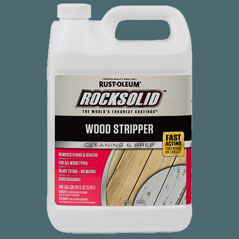 RockSolid™ Wood Stripper is a ready to use, premium quality exterior wood stripper for  all types of traditional stains and pigmented finishes. RockSolid™ Wood Stripper will cut  through and remove old, weathered coatings, including solid or semi-transparent stains, tinted water repellents or other toner-type, transparent finishes. Oil Base, water base, and even tough to remove latex stains are easily removed in one application.