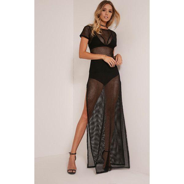 Keara Black Fishnet Split Side Maxi Dress ($20) ❤ liked on Polyvore featuring dresses, gowns, black, maxi gowns, maxi length dresses, fishnet dress, evening maxi dresses and maxi dress