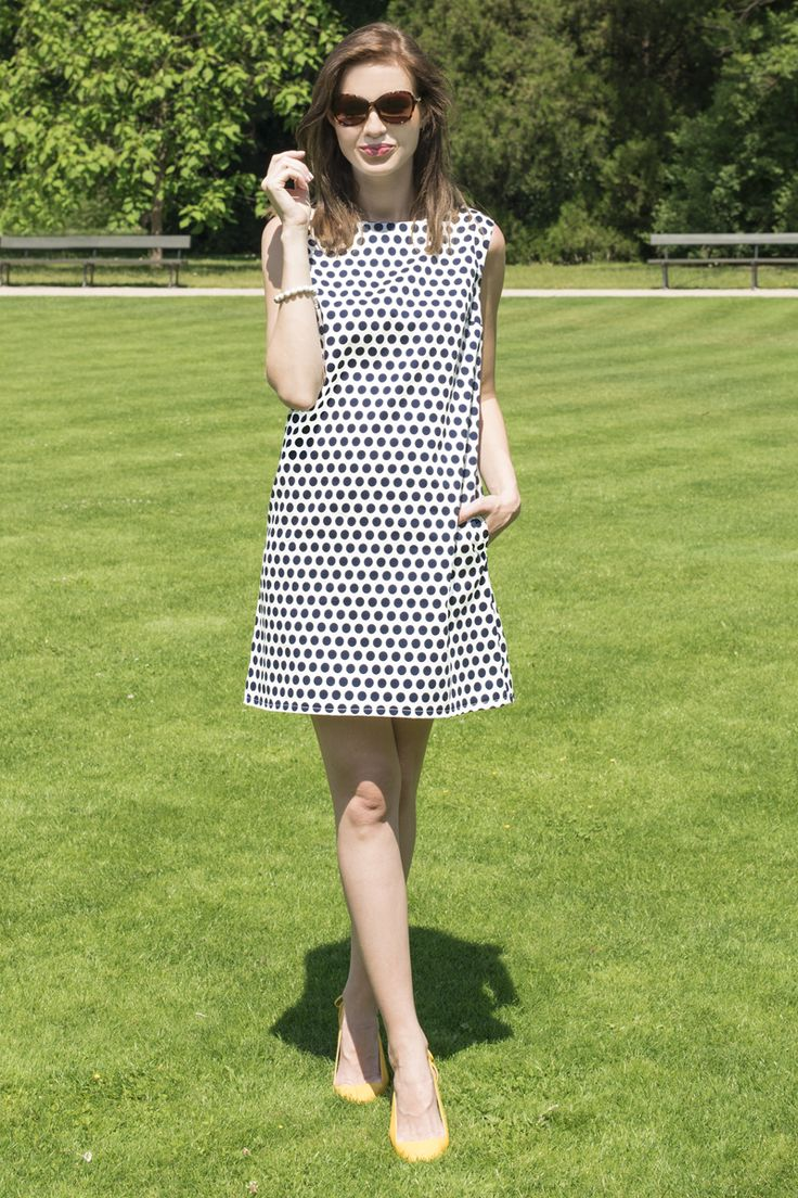 White and Nave Polka Dot  Twiggy inspired, this polka dot shift dress is perfect for all body types www.thesame.eu