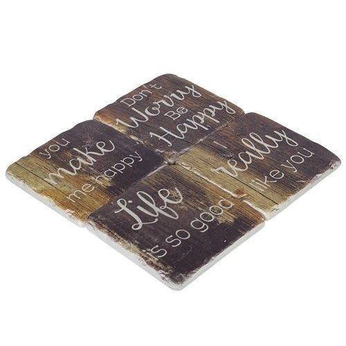 Resin Coaster Set of 4 - Wood RRP $23