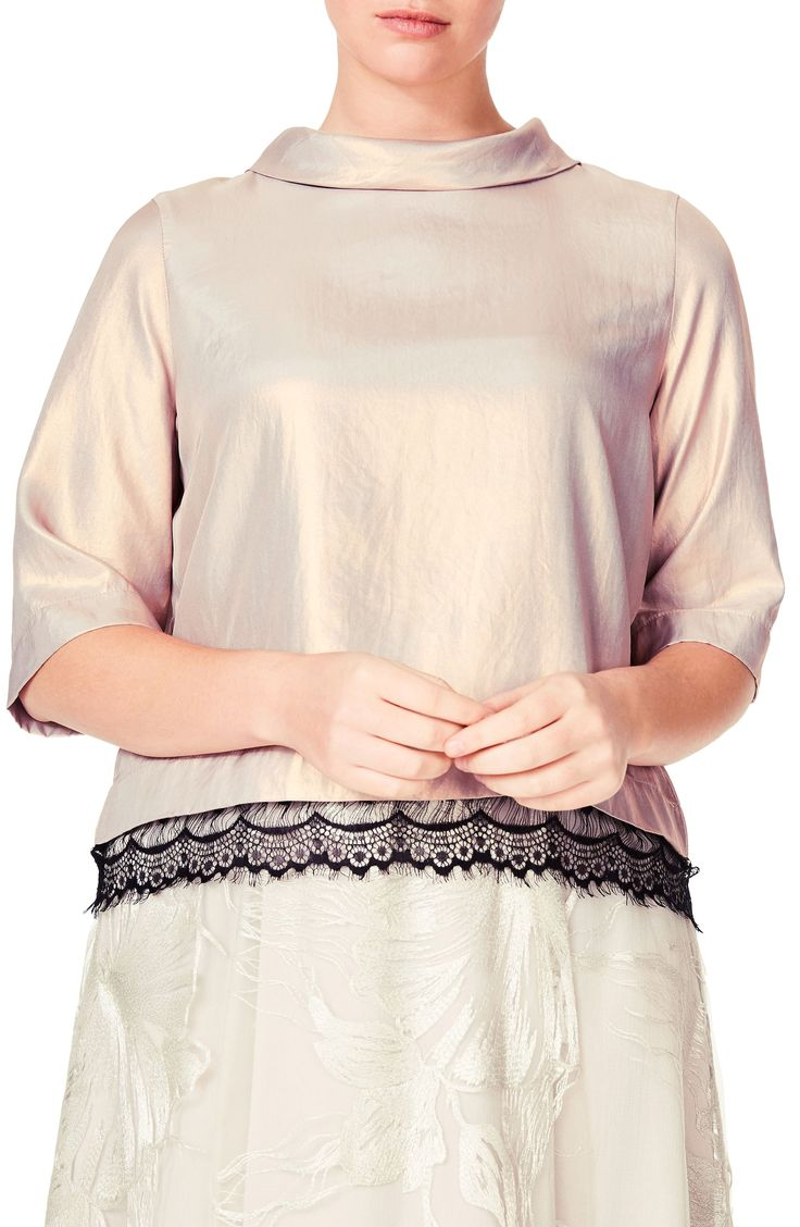 New ELVI Lace Trim Shimmer Top (Plus Size) BLACK fashion online. [$99] new offer from Offershop<<