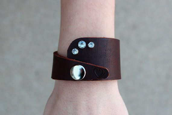 Leather Cuff Bracelet with Jewels and a by TheRepurposedArtist