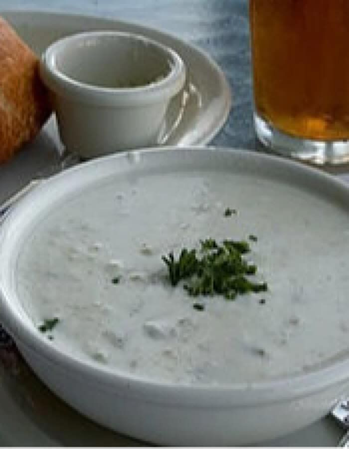 Clam Chowder Revisited ~ The addition of brown rice and cooking slowly makes this low-fat clam chowder taste very creamy.