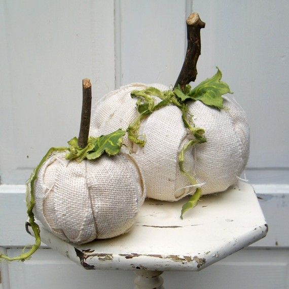 Ghost White Pumpkins Fall Autumn Halloween set of 2 by Middleburg, $68.00