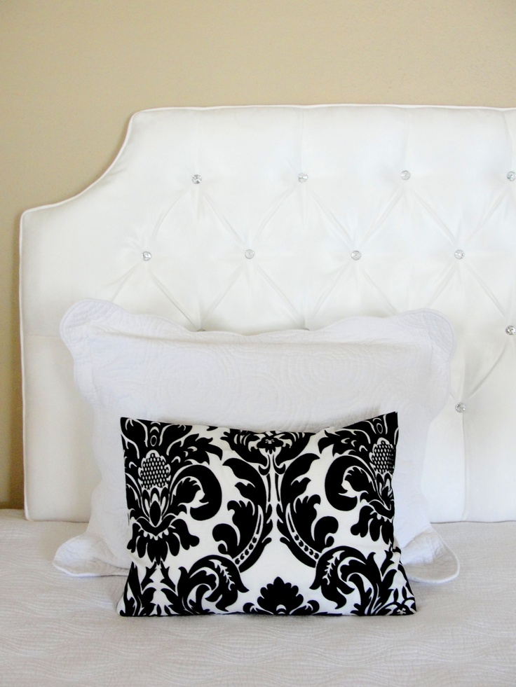 White Tufted Headboard Crystal Glass Rhinestone Buttons