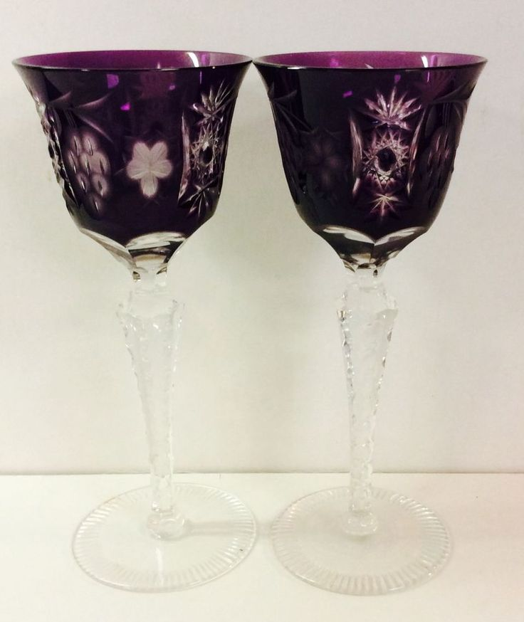 AJKA Hock Cut To Clear Crystal Amethyst Bohemian Wine Glasses  | eBay