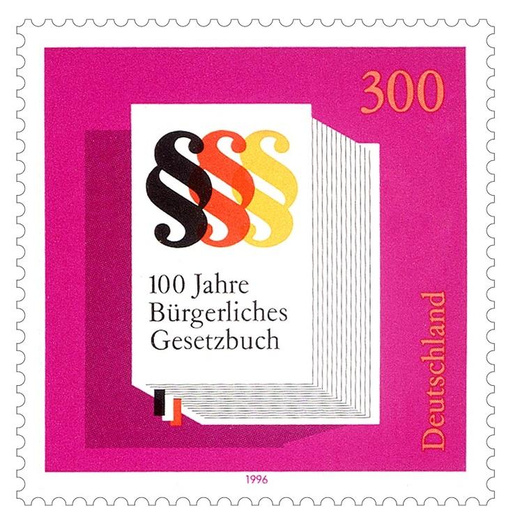 Bruno K. Wiese 1996 100 Jahre Bürgerliches Gesetzbuch Briefmarke