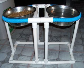 PROJECTS MADE WITH PVC PIPE Dog bowl stand, for vacationing in the camper