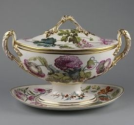 Soup tureen, cover and stand ca. 1796 Artist/Maker:Pegg (perhaps, decorated by) Billingsley, William, born 1758 - died 1828 Derby Porcelain factory (manufacturer).