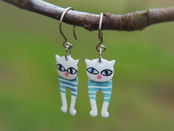 Funny Cat Earrings, Whimsical Jewelry, White Enameled, Siamese Eyes, Stainless Steel, Dangle Style, Wearable Art, Playful Style