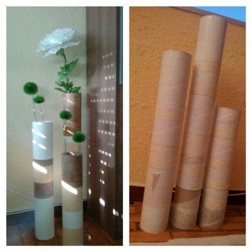 jarron carton, tubos de carton + pintura + flores diy