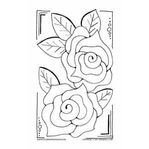 free coloring page color this charming rose drawing by artist jennifer stay it is