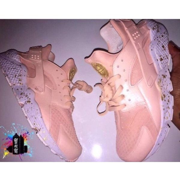 Pearl Rosegold Nike Air Huarache White Sole Gold Splash Customs... ($195) ❤ liked on Polyvore featuring shoes, sneakers, sneakers & athletic shoes, tie sneakers, unisex adult shoes, white, white trainers, white sneakers, white sole shoes and white shoes