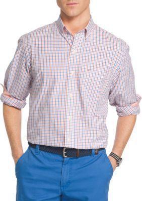 IZOD Sour Orange Big  Tall Essential Poplin Tattersall Shirt