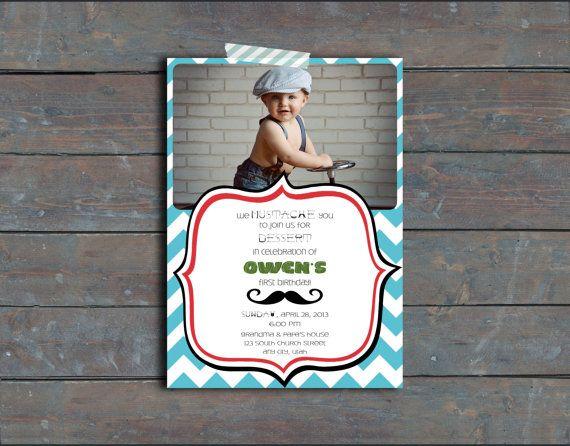 Mustache Birthday Invitation - Boy First Birthday Invitation
