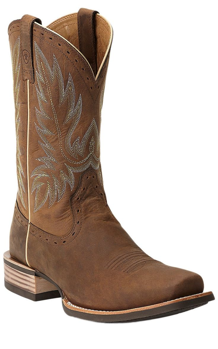 Ariat® Crossbred™ Men's Distressed Brown Square Toe Cowboy Boots