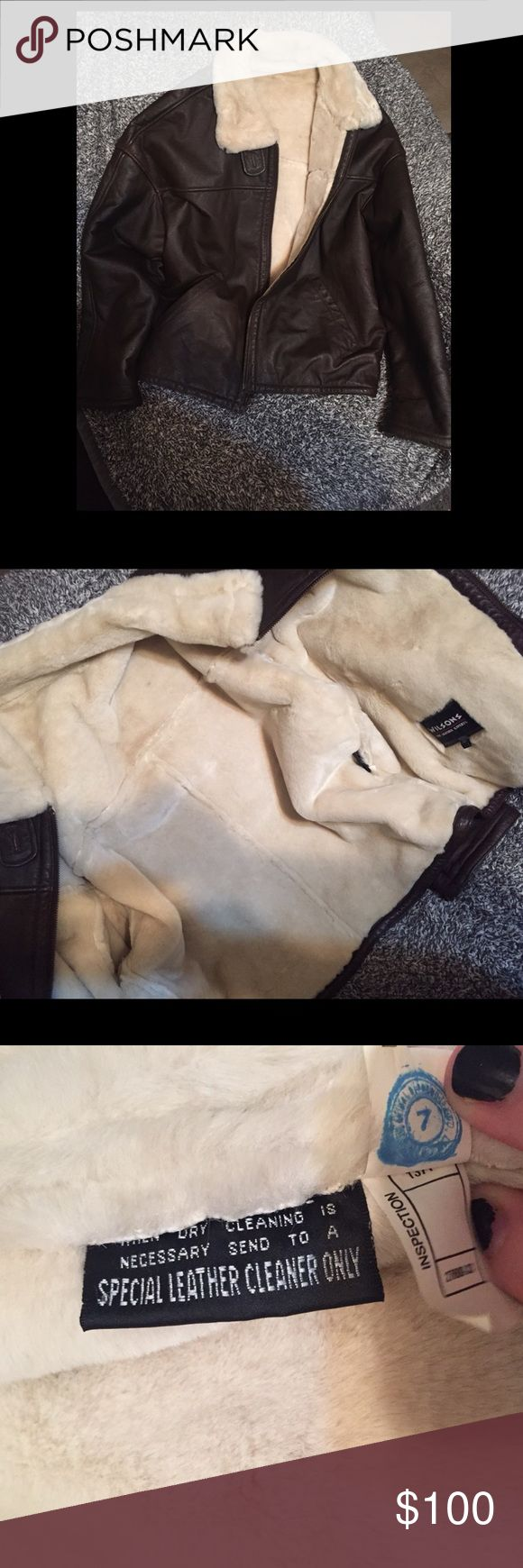 wilsons leather fur lined coat Beautiful chocolate leather coat with super soft fur lining. My husband possibly wore it once. In like new condition, is a dry clean only item. Please note that this item will require me to pay more to ship so my price is pretty firm. Wilsons Leather Jackets & Coats