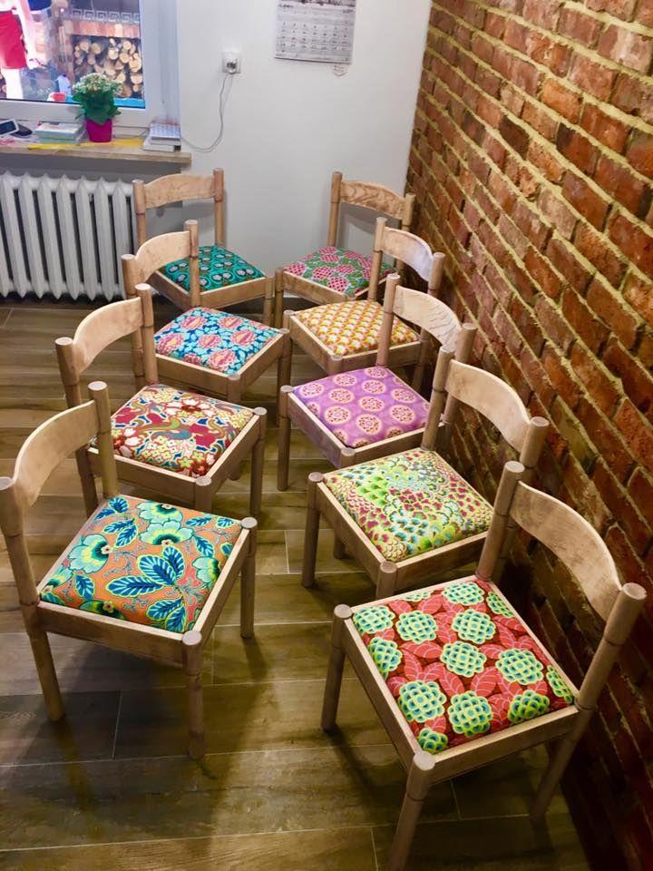 Metamorfoza krzeseł wykonana przez panią Elizę z naszych tkanin.