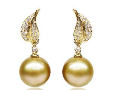 Gold South Sea Pearl Diamond Earring, 12-13mm AAA - Pearl Earrings - Pearl Hours