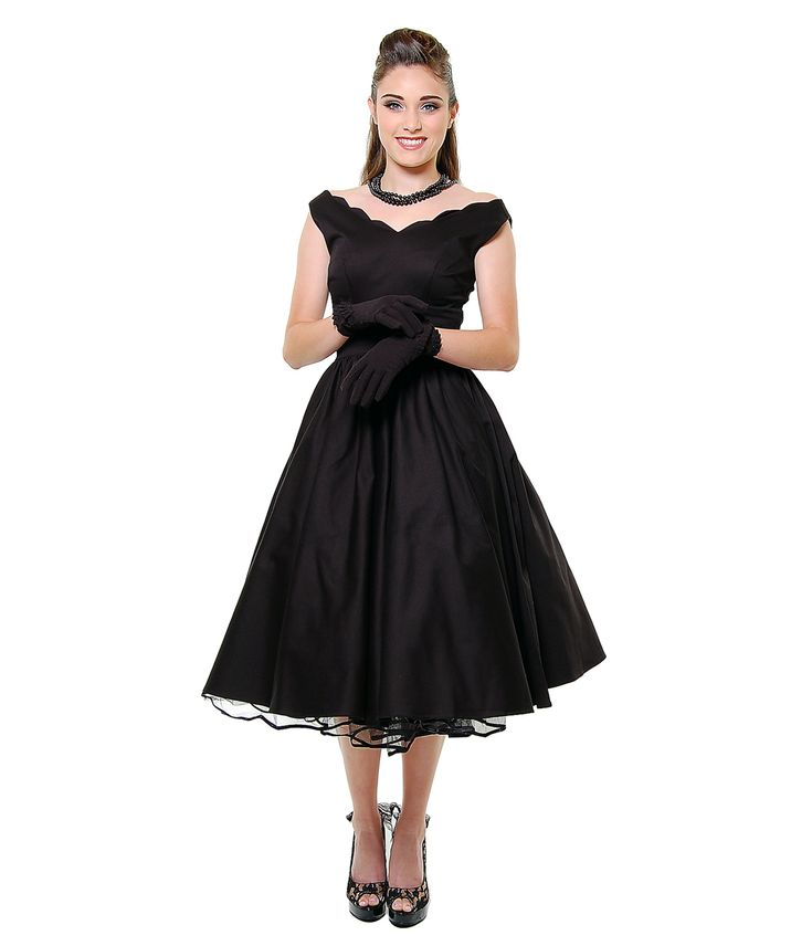 BEST SELLER! QUEEN OF HEARTZ 1950's Style Black Cotton Sateen Scallop Brenda Swing Dress - Unique Vintage - Cocktail, Pinup, Holiday & Prom Dresses.