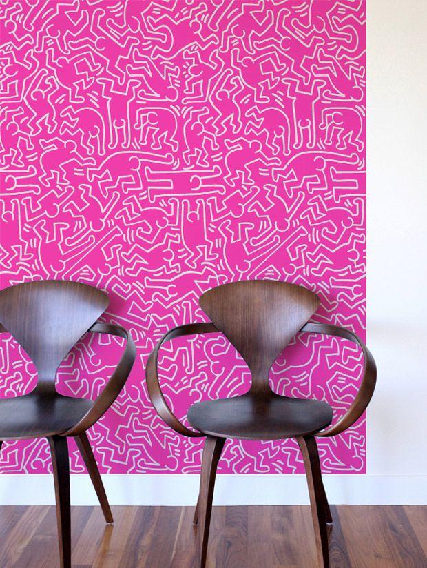 Fresque Murale Dancers Rose par Keith Haring - Créez votre mur géant reprenant l'iconographie des légendaires 'Dancers', signatures de Keith Haring.