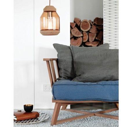 Raika 1 Light Pendant in Cork/Amber Glass   Modern Pendants   Pendant Lights   Lighting