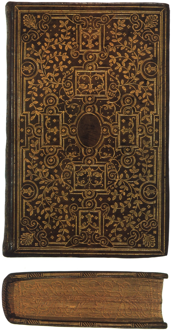 "A ""fanfare style"" binding in the manner of the Ève brothers on a copy of Horae beatissimae Virginis Mariae. Note the gauffered edge. Printed by Christopher Plantin, Antwerp, 1570. Lessing J. Rosenwald Collection, Library of Congress."