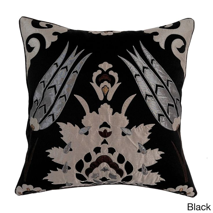 Moroccan Tile 20x20 Decorative Throw Pillow (20x20 Moraccan Tile - Black), Size 20 x 20 (Polyester, Applique)