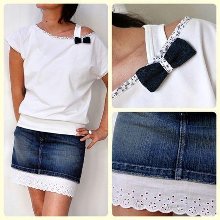 Idée à retenir : bande de broderie anglaise sur mini-jupe trop courte.I like the idea of adding some cute fabric around the neck line.